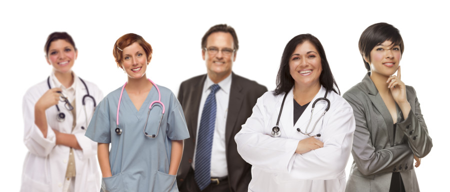 Small Group of Medical and Business People Isolated on a White Background.